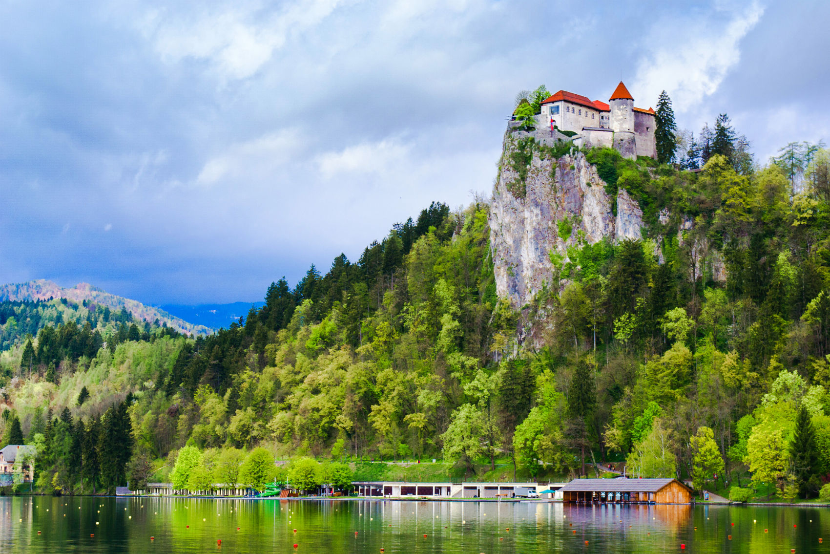 Bled castle overlooking Bled lake Slovenia