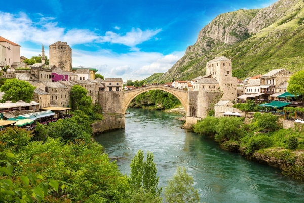 Mostar bridge small town in Bosnia, Balkan tour